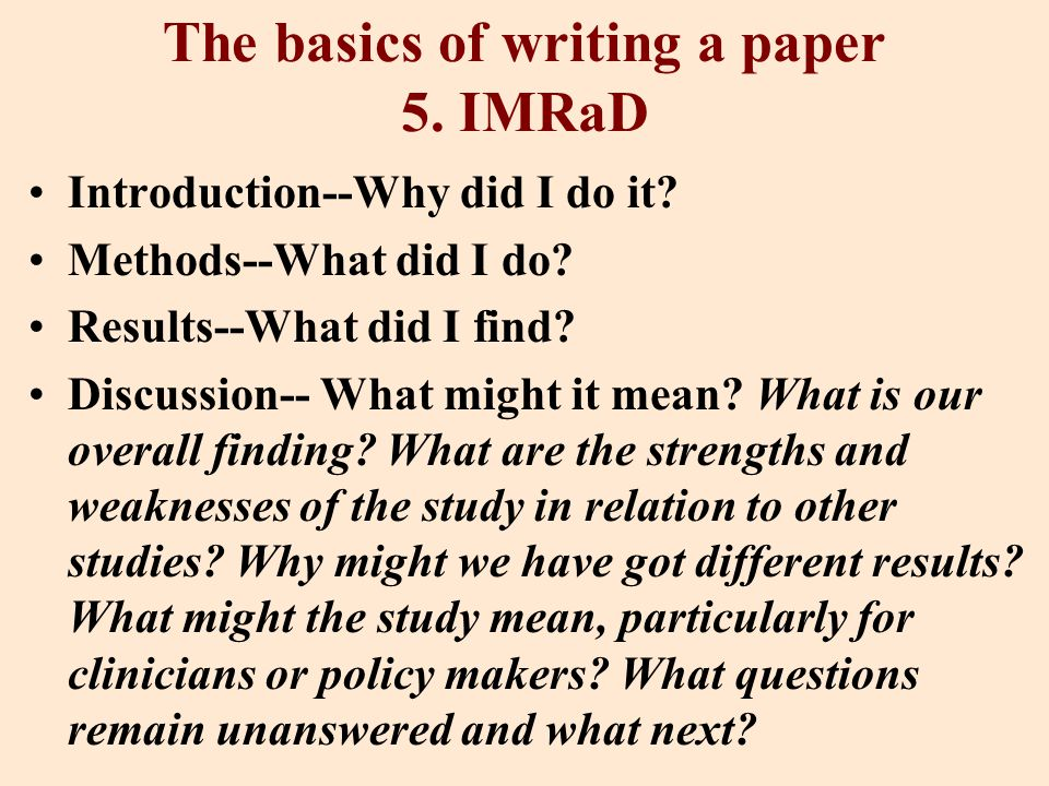 The basics of writing a paper 5. IMRaD Introduction--Why did I do it.