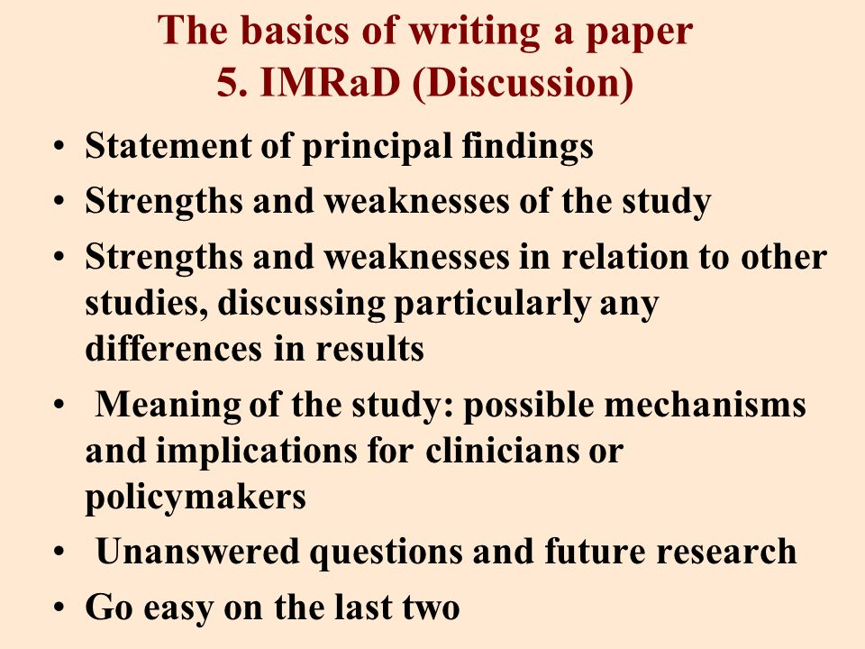 The basics of writing a paper 5.