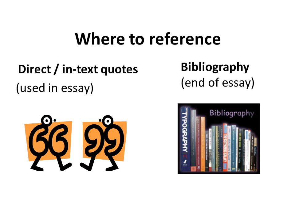 Where to reference Direct / in-text quotes (used in essay) Bibliography (end of essay)