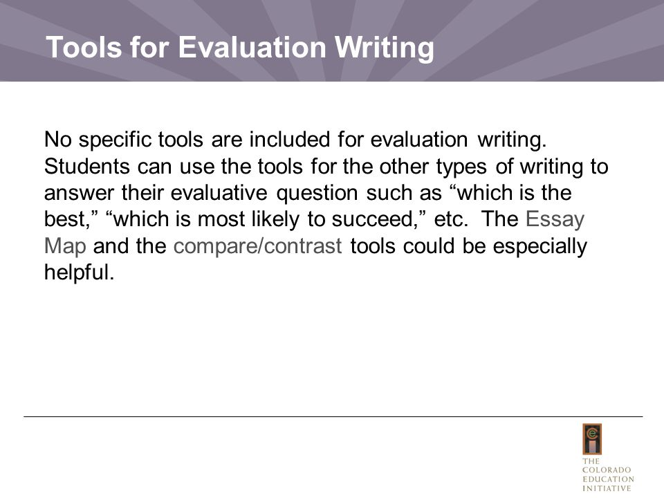 Tools for Evaluation Writing No specific tools are included for evaluation writing.