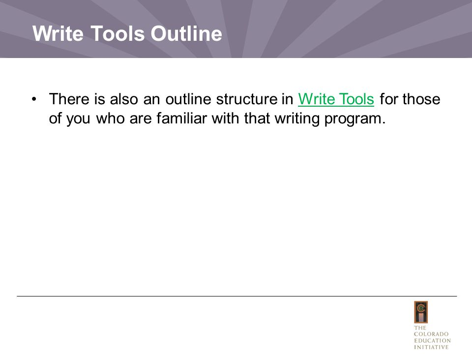 Write Tools Outline There is also an outline structure in Write Tools for those of you who are familiar with that writing program.