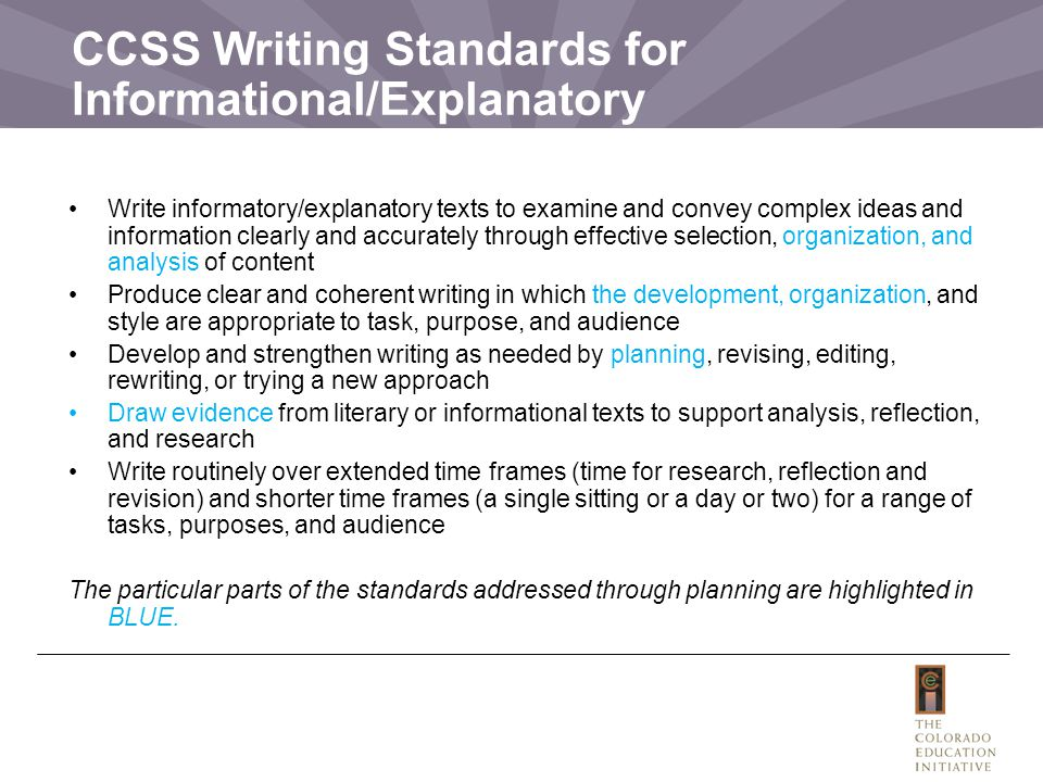 CCSS Writing Standards for Informational/Explanatory Write informatory/explanatory texts to examine and convey complex ideas and information clearly and accurately through effective selection, organization, and analysis of content Produce clear and coherent writing in which the development, organization, and style are appropriate to task, purpose, and audience Develop and strengthen writing as needed by planning, revising, editing, rewriting, or trying a new approach Draw evidence from literary or informational texts to support analysis, reflection, and research Write routinely over extended time frames (time for research, reflection and revision) and shorter time frames (a single sitting or a day or two) for a range of tasks, purposes, and audience The particular parts of the standards addressed through planning are highlighted in BLUE.