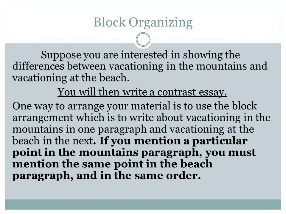 compare and contrast essay block and point by point