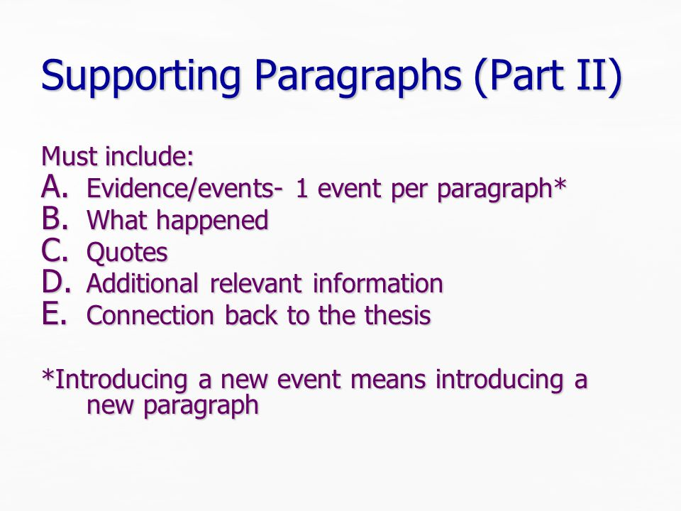 Supporting Paragraphs (Part II) Must include: A. Evidence/events- 1 event per paragraph* B.