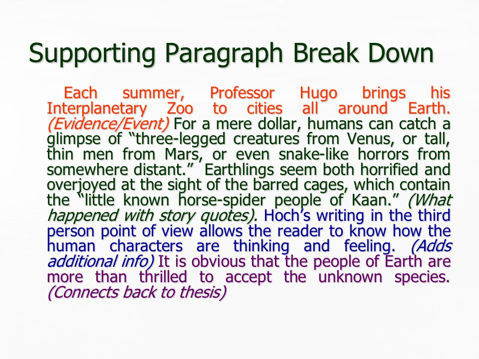 Supporting Paragraph 2 Sample Zoo's setting changes two months later to the jagged rocks of Kaan where the horse-spider inhabitants anxiously return home.