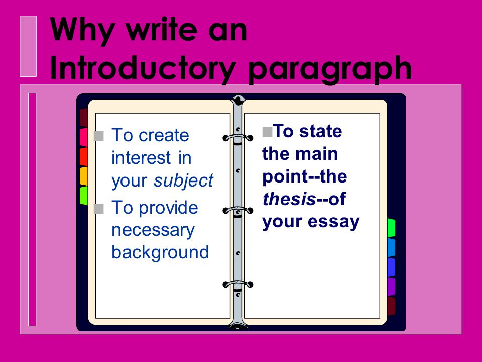 Why write an Introductory paragraph n To create interest in your subject n To intro- duce the subject
