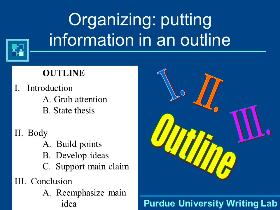 Purdue University Writing Lab Organizing: putting information in an outline OUTLINE I.