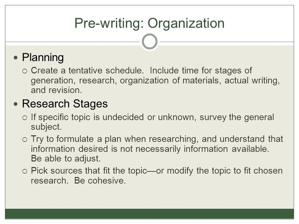 Pre-writing: Organization Planning  Create a tentative schedule. Include time for stages of generation, research, organization of materials, actual w