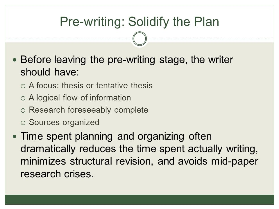 Pre-writing: Solidify the Plan Before leaving the pre-writing stage, the writer should have:  A focus: thesis or tentative thesis  A logical flow of information  Research foreseeably complete  Sources organized Time spent planning and organizing often dramatically reduces the time spent actually writing, minimizes structural revision, and avoids mid-paper research crises.