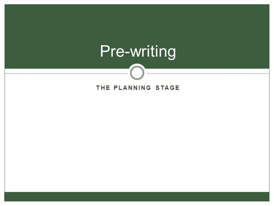 THE PLANNING STAGE Pre-writing
