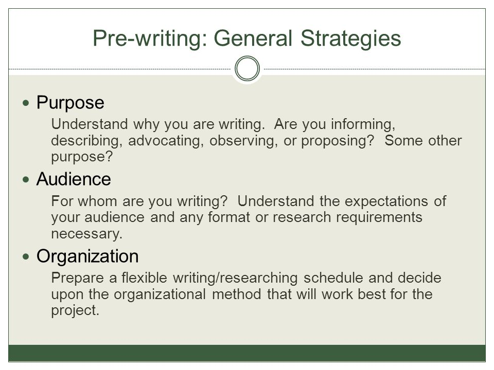 Pre-writing: General Strategies Purpose Understand why you are writing.