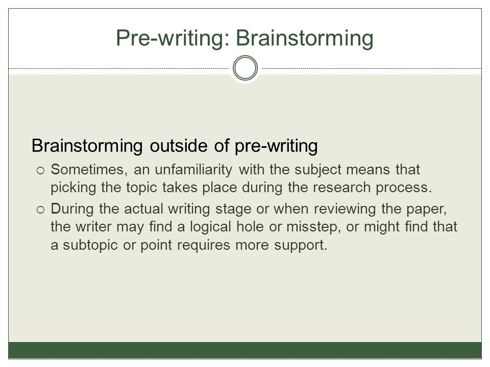 Pre-writing: Brainstorming Brainstorming outside of pre-writing  Sometimes, an unfamiliarity with the subject means that picking the topic takes place during the research process.