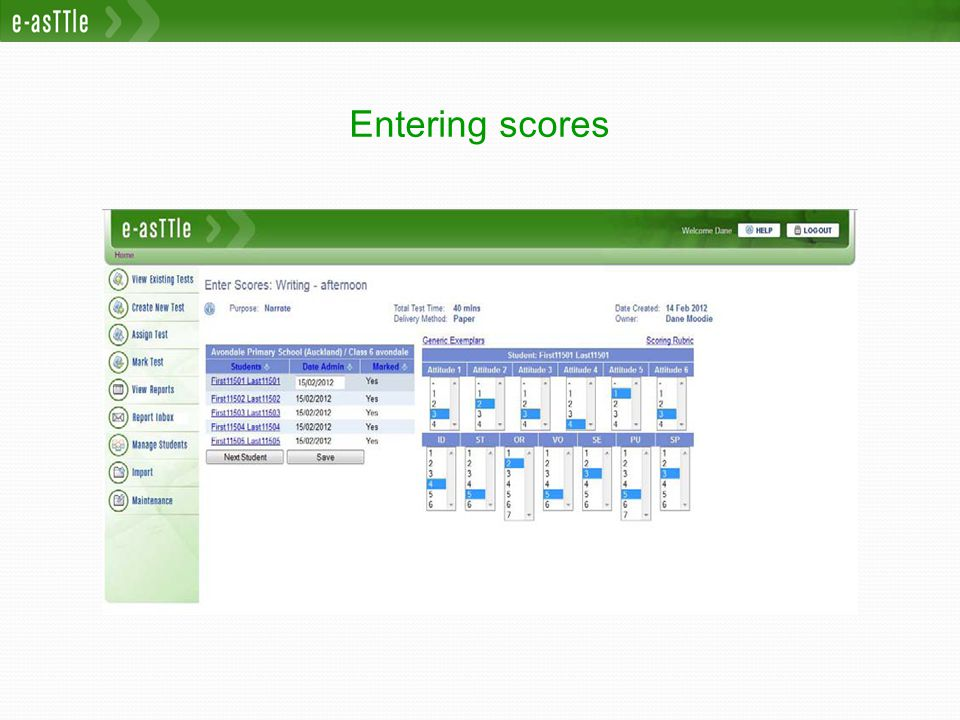 Entering scores