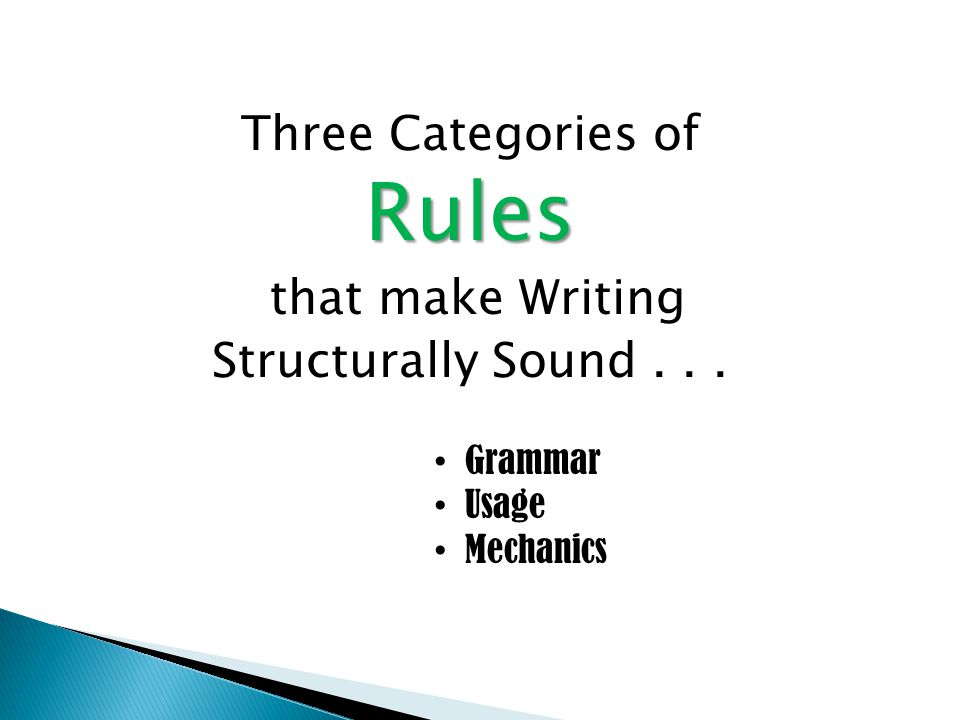  GRAMMAR -- (Rules that structure language) – The English language has many rules that you must follow to communicate in Standard American English (SAE).