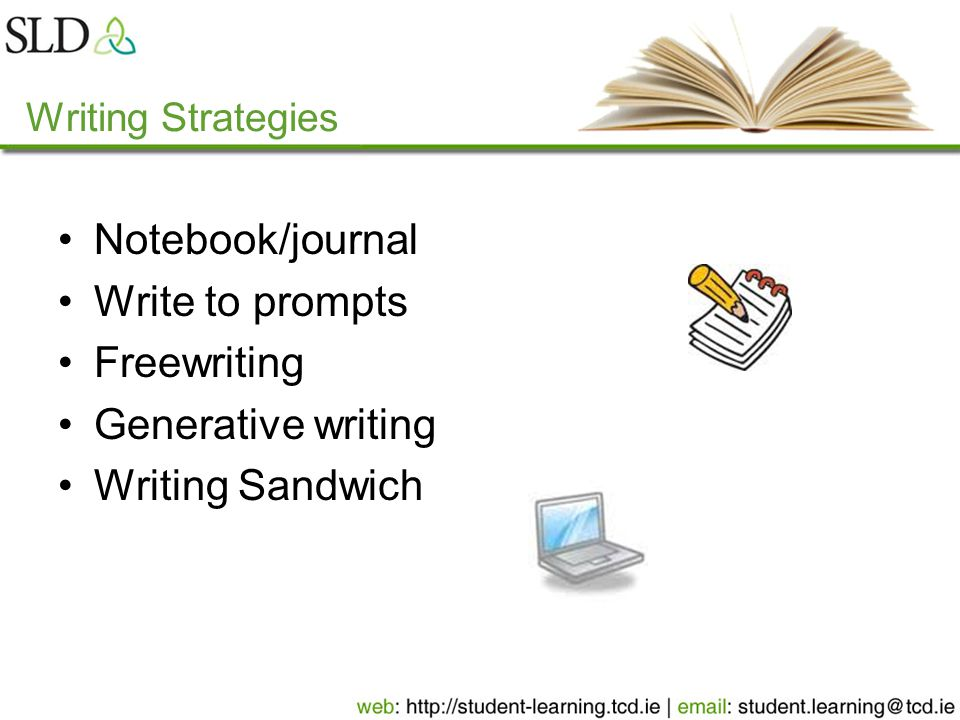 Writing Strategies Notebook/journal Write to prompts Freewriting Generative writing Writing Sandwich