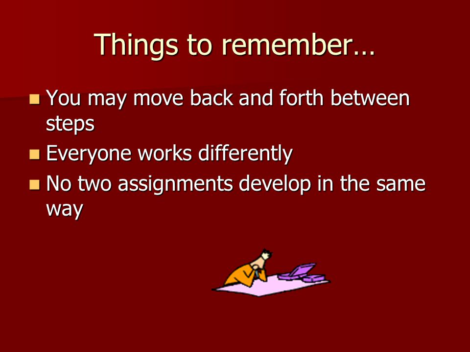 Things to remember… You may move back and forth between steps You may move back and forth between steps Everyone works differently Everyone works differently No two assignments develop in the same way No two assignments develop in the same way