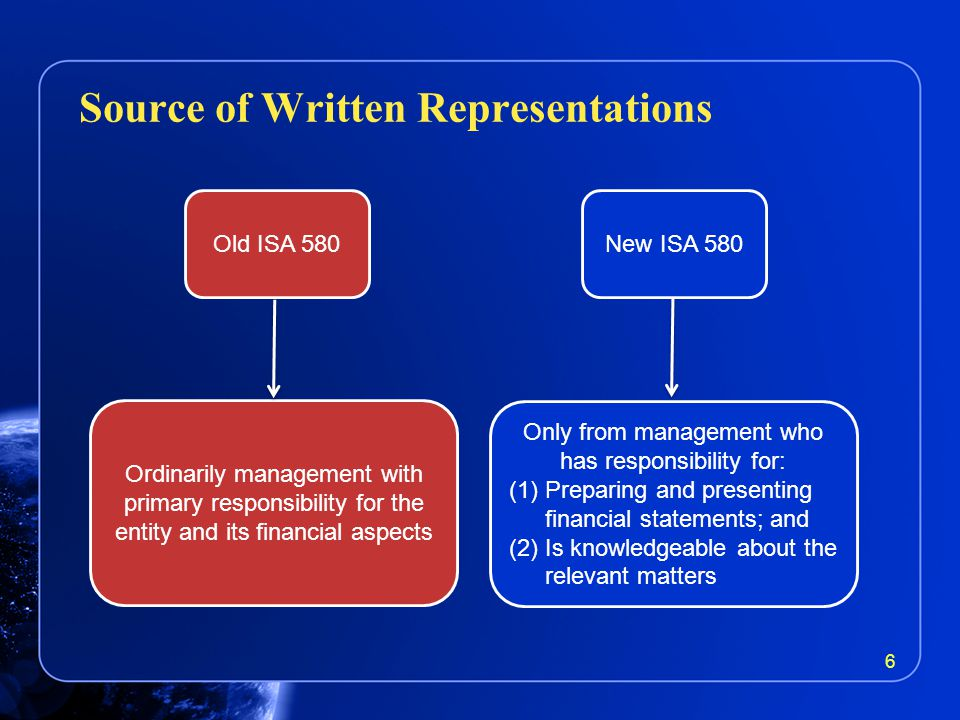 Source of Written Representations 6 Ordinarily management with primary responsibility for the entity and its financial aspects Old ISA 580New ISA 580 Only from management who has responsibility for: (1)Preparing and presenting financial statements; and (2)Is knowledgeable about the relevant matters