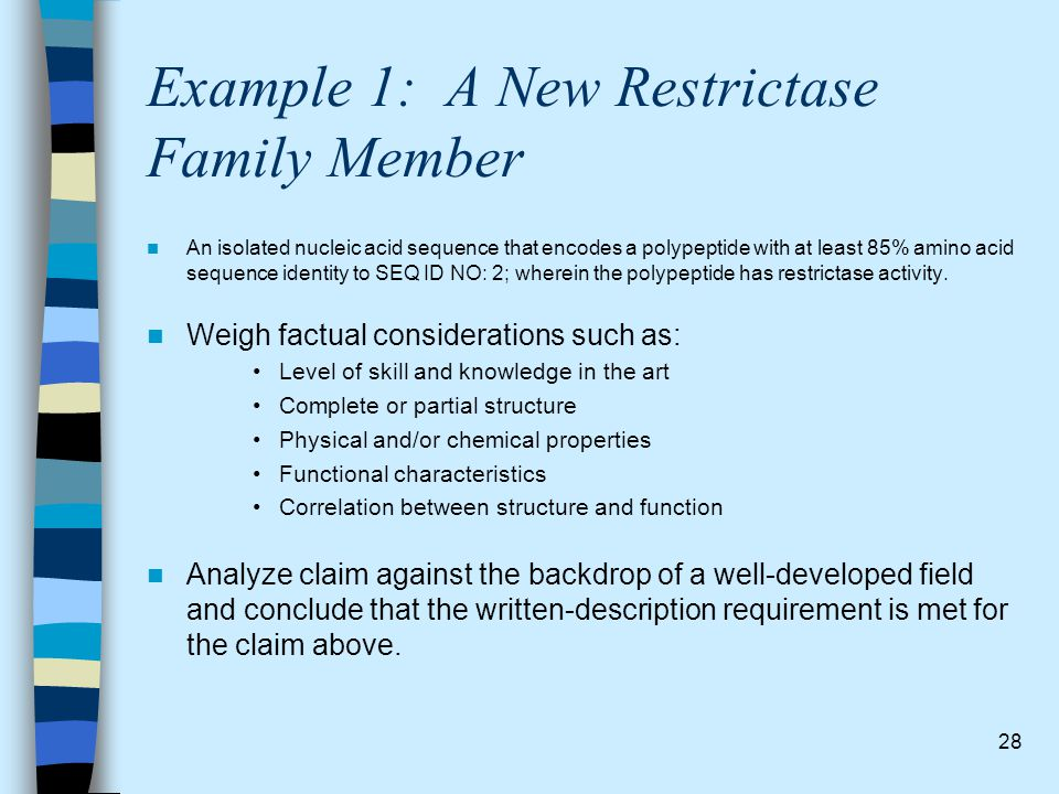 28 Example 1: A New Restrictase Family Member An isolated nucleic acid sequence that encodes a polypeptide with at least 85% amino acid sequence ident