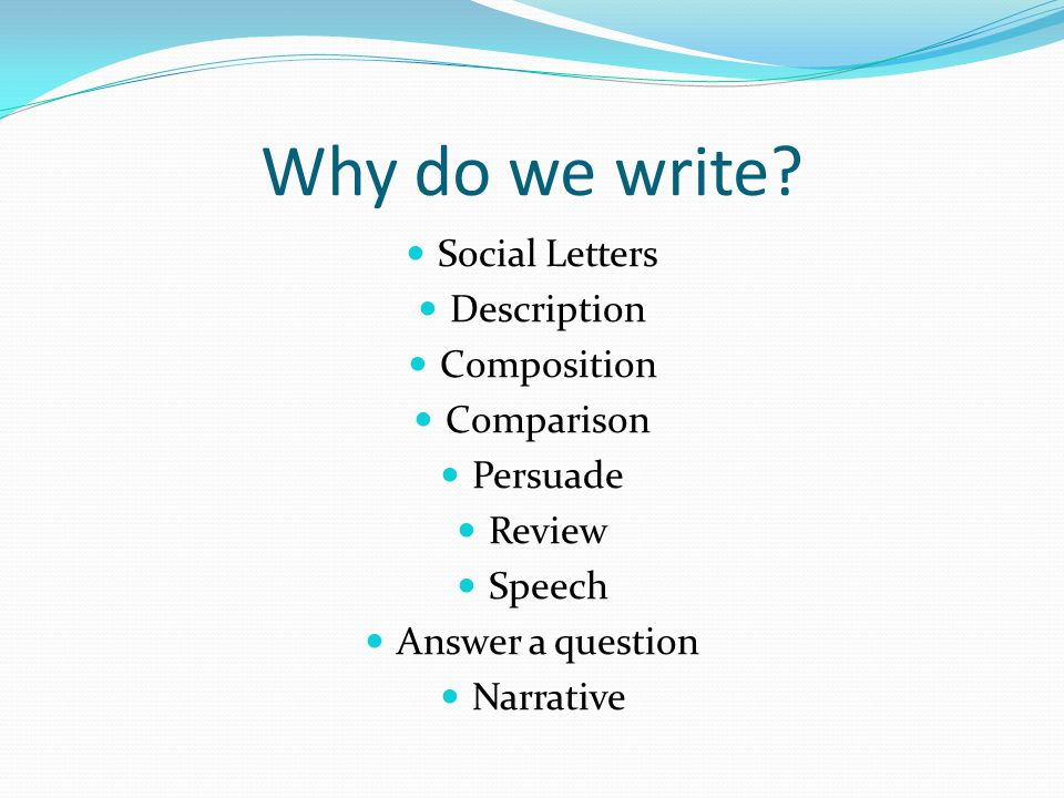 Why do we write.
