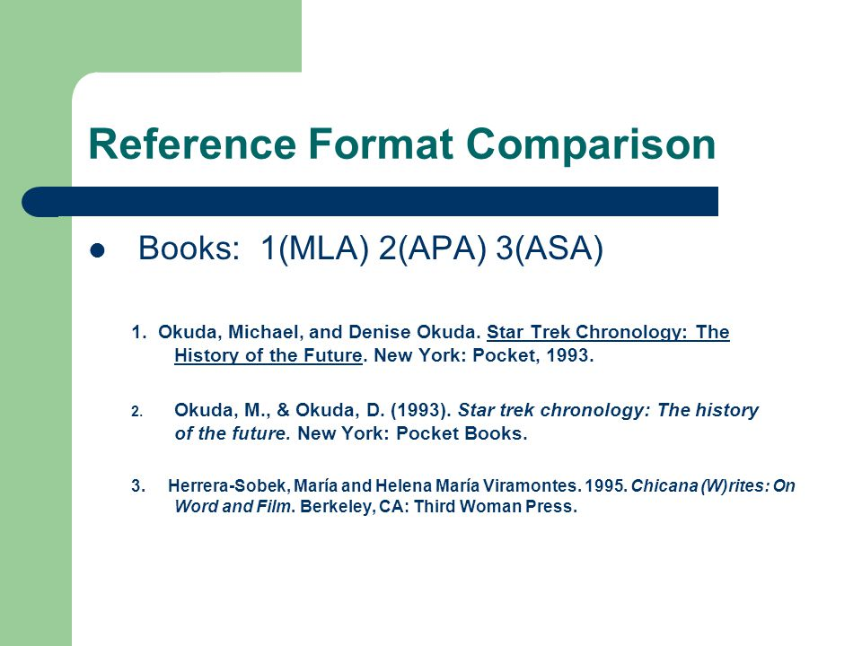 Reference Format Comparison Books: 1(MLA) 2(APA) 3(ASA) 1.