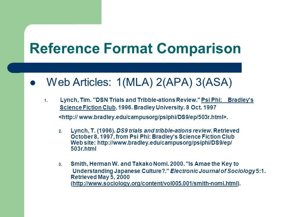 Reference Format Comparison Web Articles: 1(MLA) 2(APA) 3(ASA) 1.