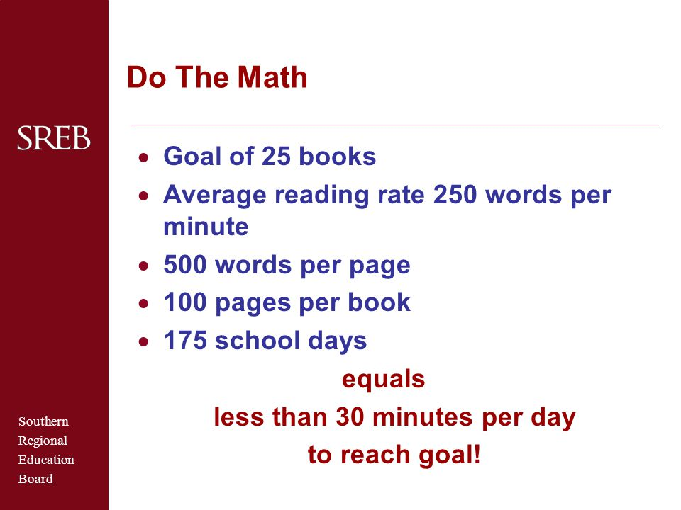 Southern Regional Education Board Do The Math  Goal of 25 books  Average reading rate 250 words per minute  500 words per page  100 pages per book