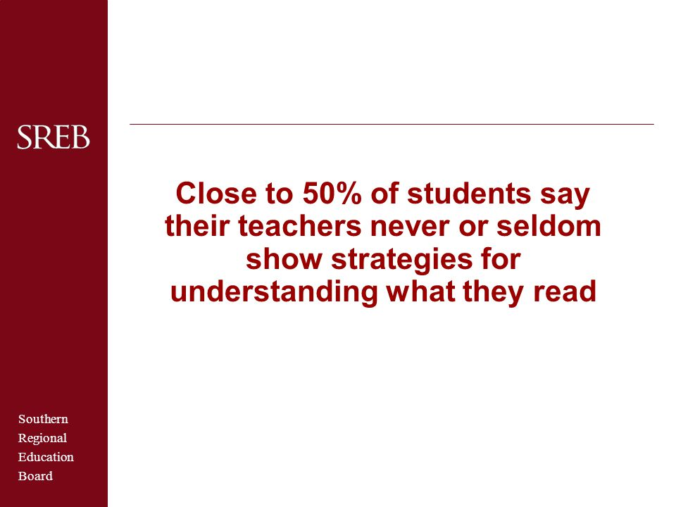 Southern Regional Education Board Close to 50% of students say their teachers never or seldom show strategies for understanding what they read