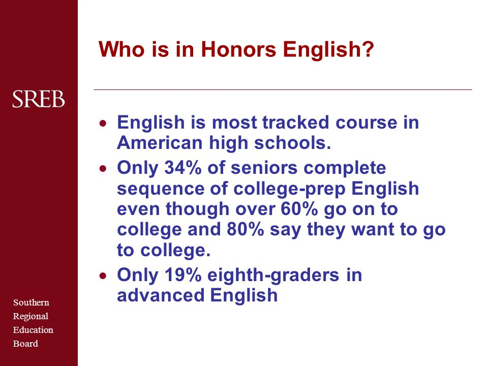 Southern Regional Education Board Who is in Honors English?  English is most tracked course in American high schools.  Only 34% of seniors complete