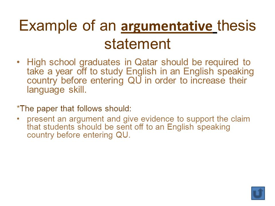 Example of an argumentative thesis statement High school graduates in Qatar should be required to take a year off to study English in an English speaking country before entering QU in order to increase their language skill.