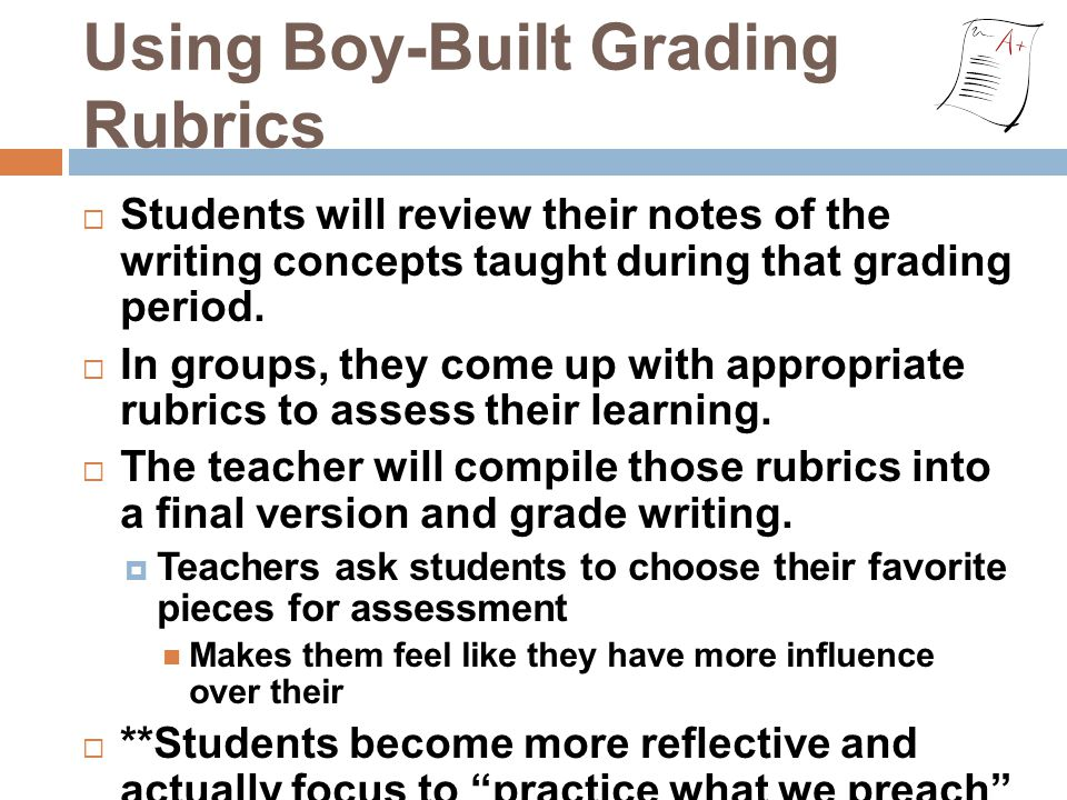 Using Boy-Built Grading Rubrics  Students will review their notes of the writing concepts taught during that grading period.