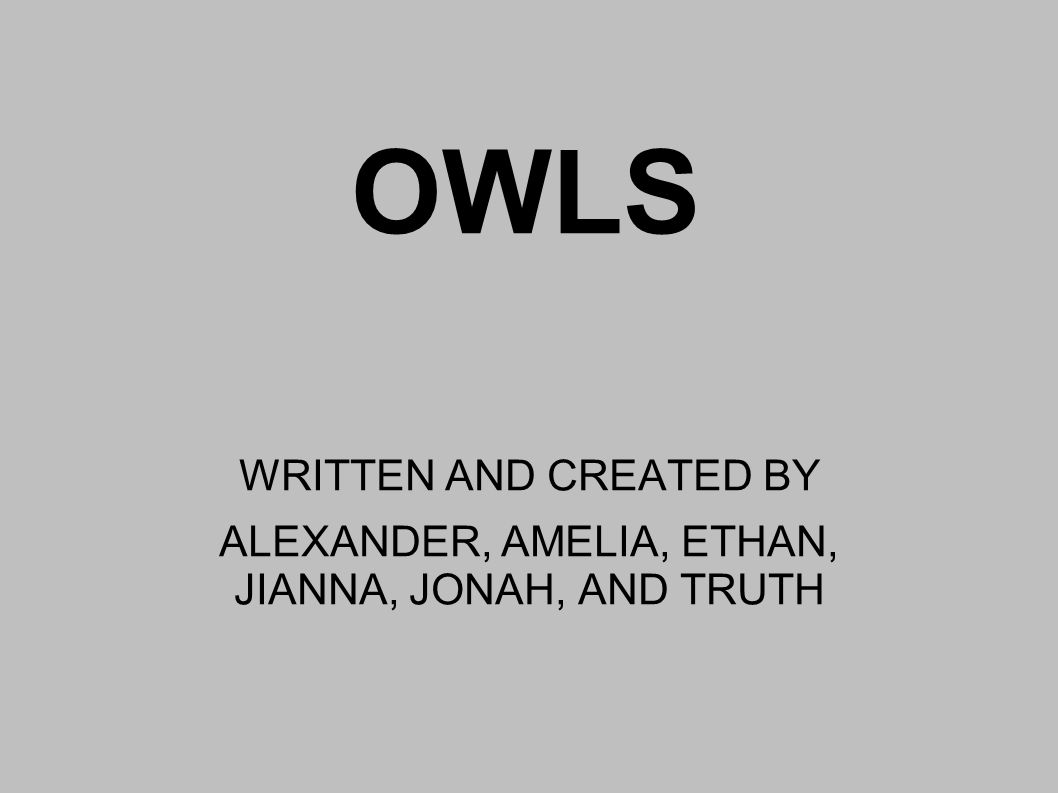 OWLS WRITTEN AND CREATED BY ALEXANDER, AMELIA, ETHAN, JIANNA, JONAH, AND TRUTH