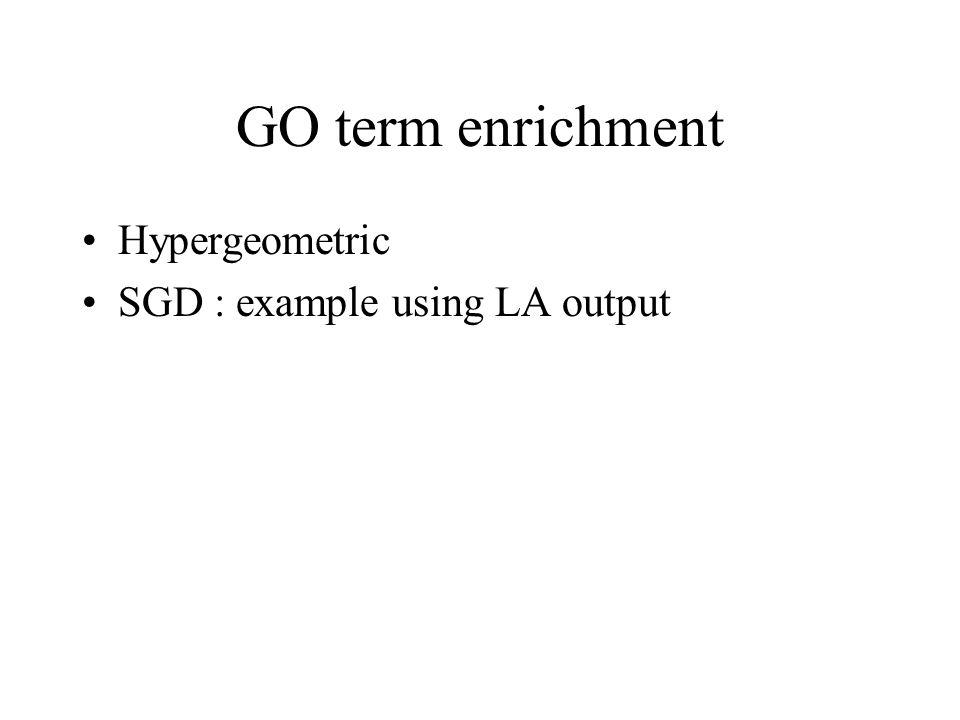 GO term enrichment Hypergeometric SGD : example using LA output