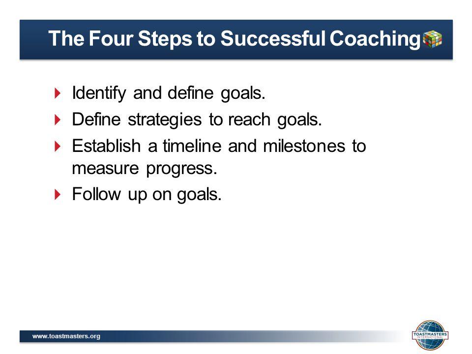 www.toastmasters.org  Identify and define goals.  Define strategies to reach goals.  Establish a timeline and milestones to measure progress.  Fol