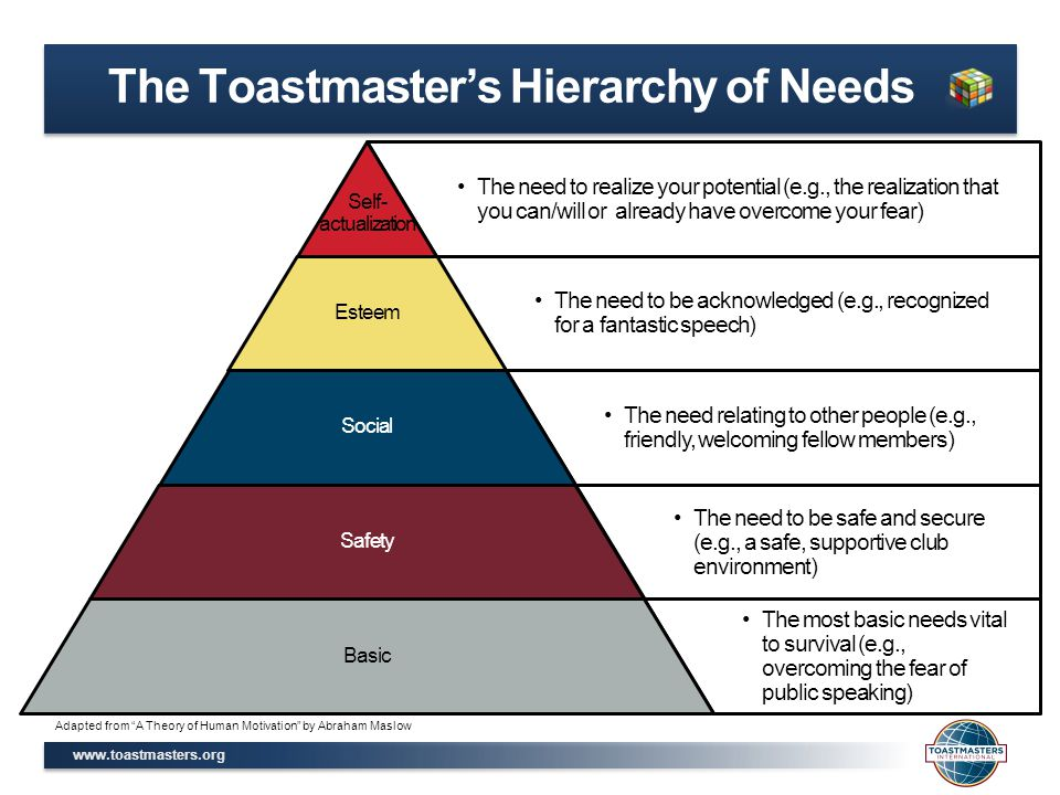 www.toastmasters.org The Toastmaster's Hierarchy of Needs The need to realize your potential (e.g., the realization that you can/will or already have