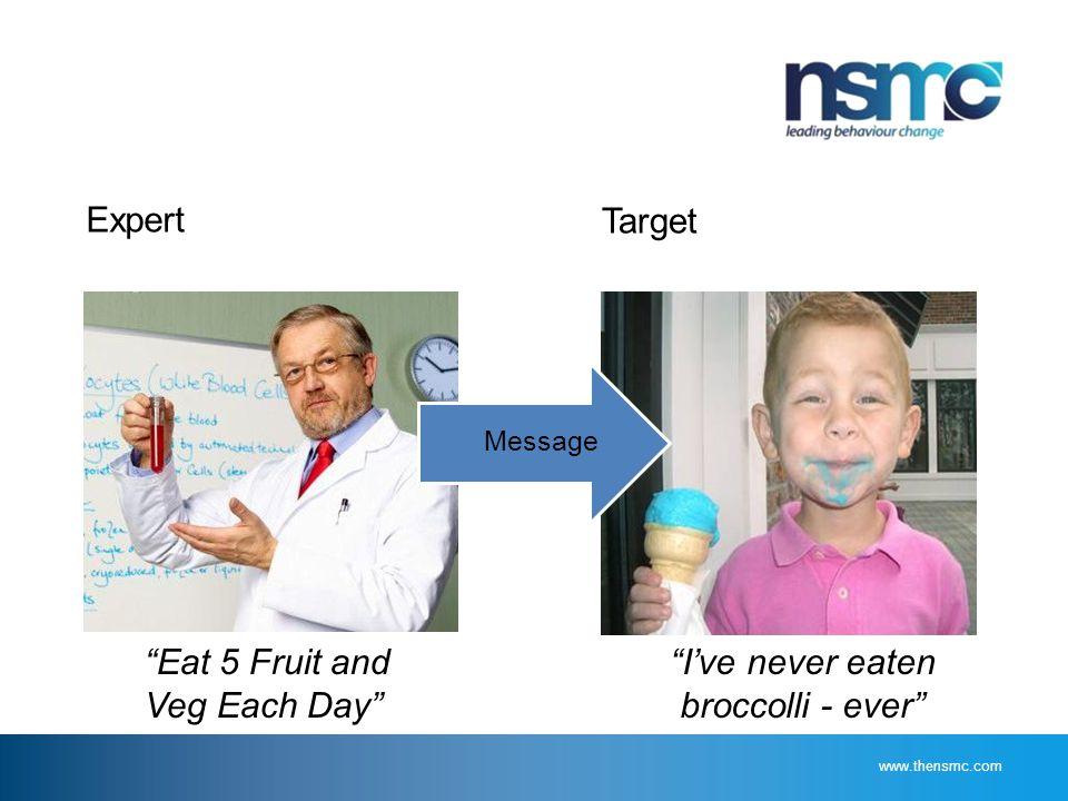 Expert Target Eat 5 Fruit and Veg Each Day I've never eaten broccolli - ever Message