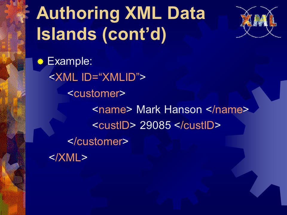 Authoring XML Data Islands (cont'd)  Example: Mark Hanson 29085
