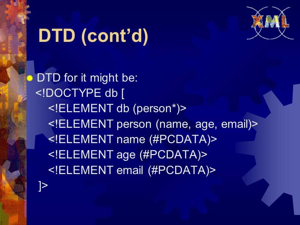 DTD (cont'd)  DTD for it might be: <!DOCTYPE db [ ]>