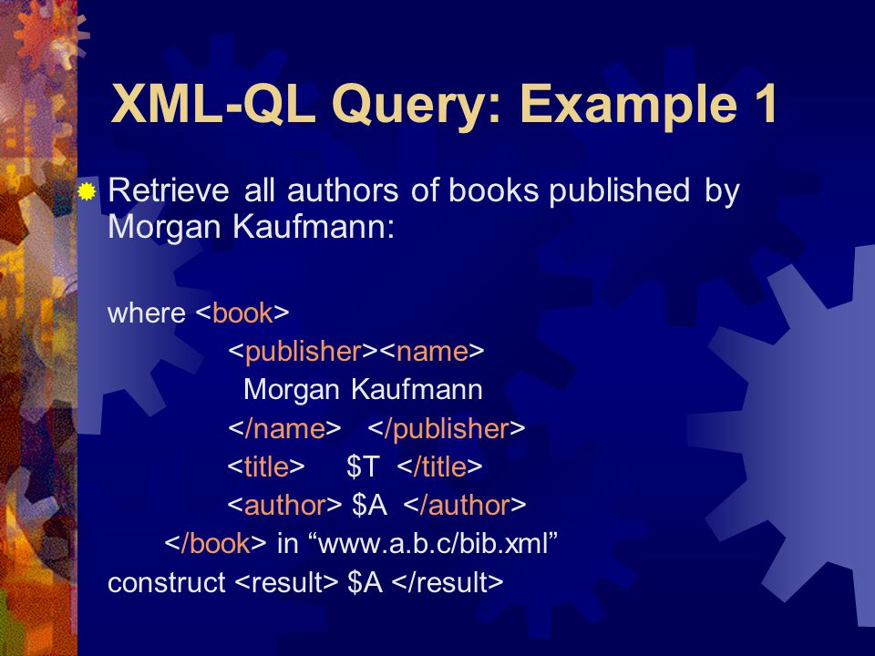 "XML-QL Query: Example 1  Retrieve all authors of books published by Morgan Kaufmann: where Morgan Kaufmann $T $A in ""www.a.b.c/bib.xml"" construct $A"
