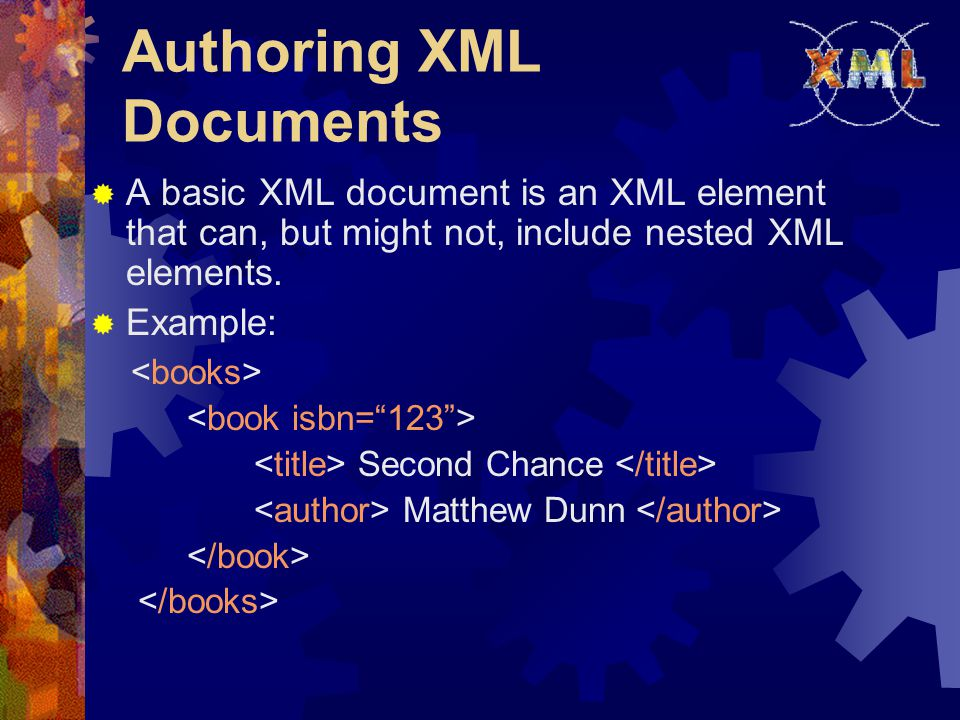 XML-QL Query: Example 1  Retrieve all authors of books published by Morgan Kaufmann: where Morgan Kaufmann $T $A in www.a.b.c/bib.xml construct $A