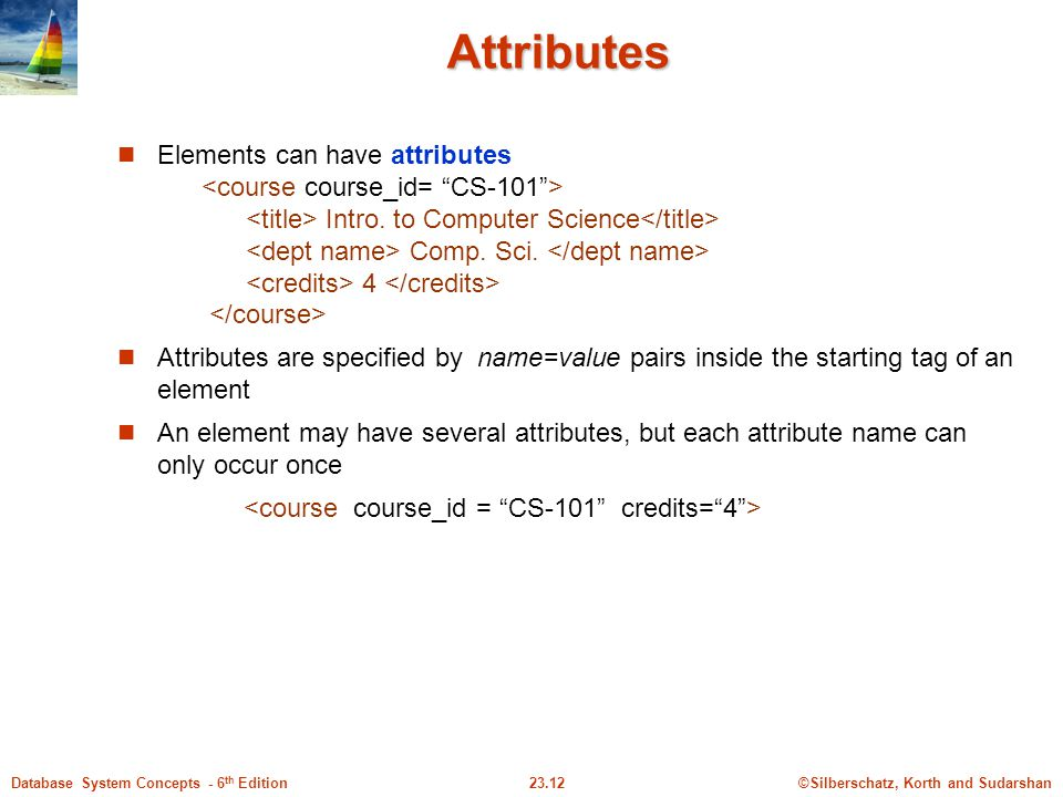 ©Silberschatz, Korth and Sudarshan23.12Database System Concepts - 6 th Edition Attributes Elements can have attributes Intro. to Computer Science Comp