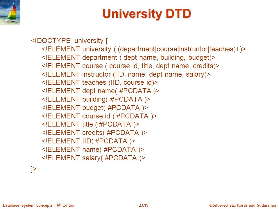 ©Silberschatz, Korth and Sudarshan23.19Database System Concepts - 6 th Edition University DTD ]>