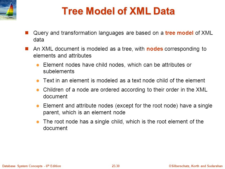 ©Silberschatz, Korth and Sudarshan23.30Database System Concepts - 6 th Edition Tree Model of XML Data Query and transformation languages are based on