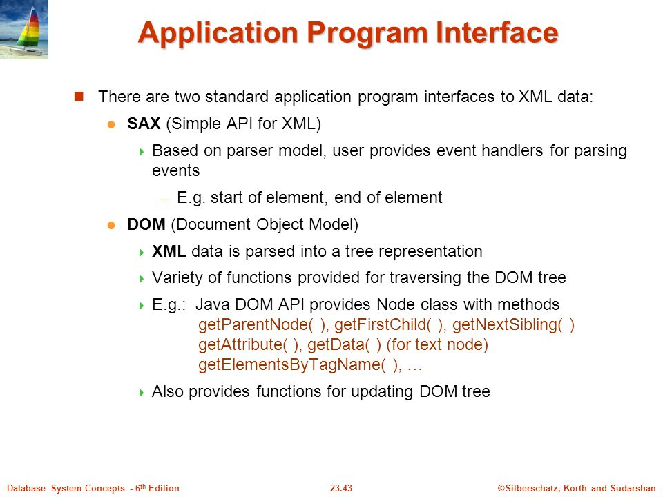 ©Silberschatz, Korth and Sudarshan23.43Database System Concepts - 6 th Edition Application Program Interface There are two standard application progra