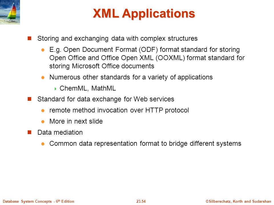 ©Silberschatz, Korth and Sudarshan23.54Database System Concepts - 6 th Edition XML Applications Storing and exchanging data with complex structures E.