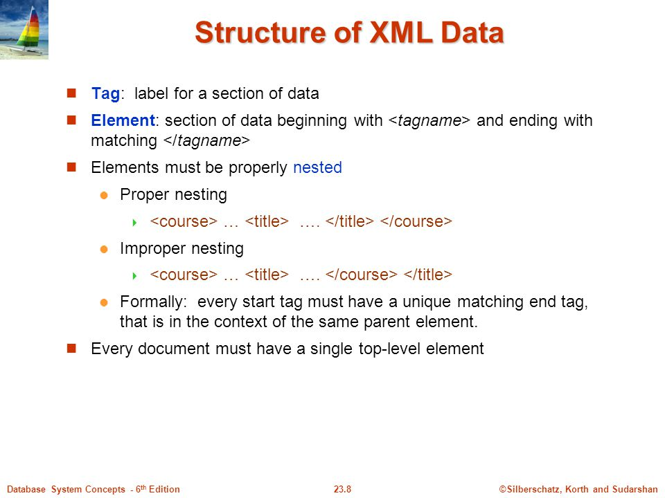 ©Silberschatz, Korth and Sudarshan23.8Database System Concepts - 6 th Edition Structure of XML Data Tag: label for a section of data Element: section