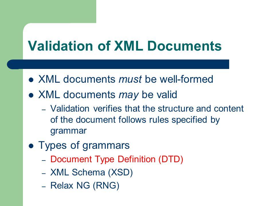 Example DTD (5 of 6) Attribute value type 01 02 03 04 05 06 07