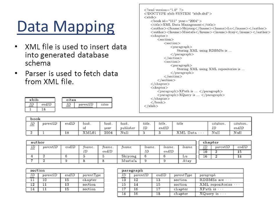 Data Mapping XML file is used to insert data into generated database schema Parser is used to fetch data from XML file.