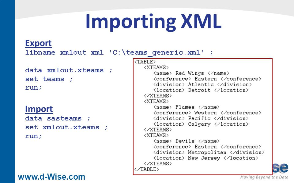 www.d-Wise.com Importing XML libname xmlout xml C:\teams_generic.xml ; data xmlout.xteams ; set teams ; run; Export data sasteams ; set xmlout.xteams ; run; Import