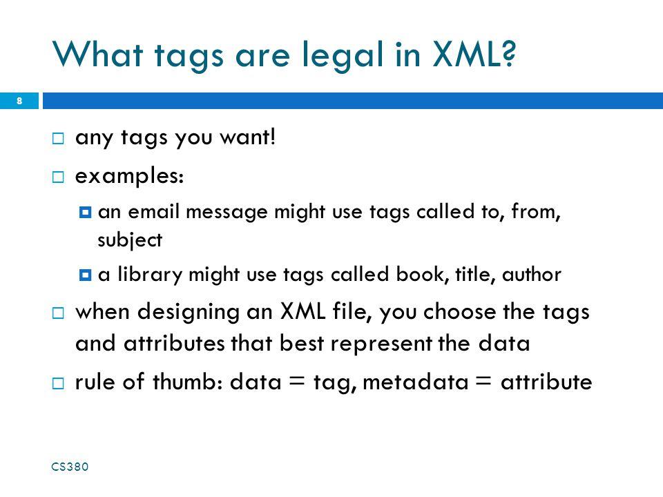 CS380 19 Larger XML file example Everyday Italian Giada De Laurentiis 2005 30.00 XQuery Kick Start James McGovern 2003 49.99 Harry Potter J K.