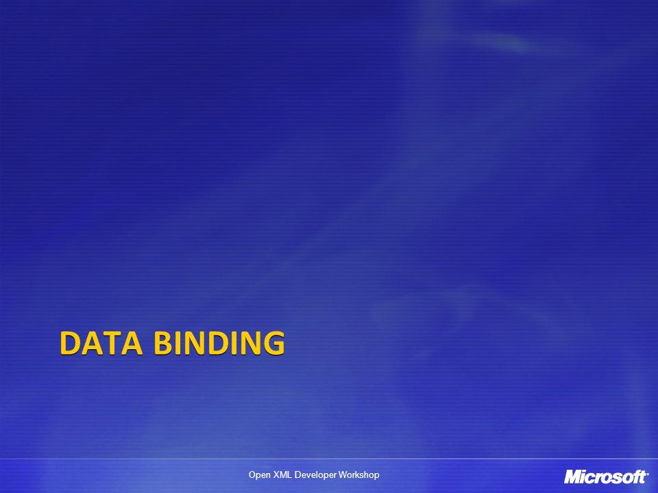 Open XML Developer Workshop DATA BINDING